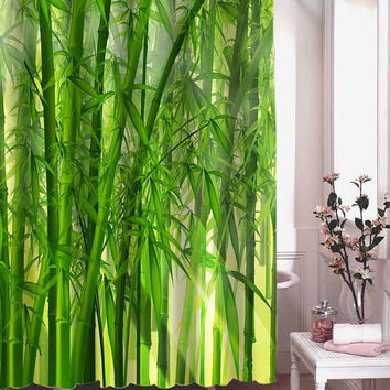 East Green Bamboo shower curtain adorabel batheroom hane made