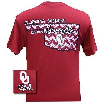 Oklahoma Boomer Sooners OU Chevron State EST. 1890 Girlie Bright T Shirt