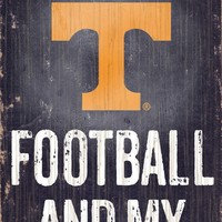 "Tennessee Volunteers Wood Sign - Football and Dog 6""x12"""