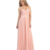 Blush Ruched Sweetheart Strapless Chiffon Gown 2015 Prom Dresses