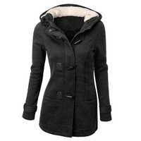 Winter Claw Clasp Womens Wool Blended Classic Pea Coat Jacket (S-XXL,Black,Light Grey,Dark Grey,Coffee) [9305612231]