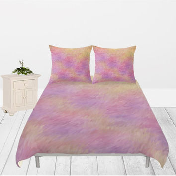 Romance in the Filed Duvet Cover - 4 different sizes, Without Insert, Bedroom, Home decor, With or Without Shams, Purple, Yellow, Abstract