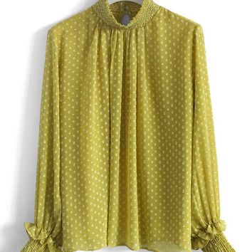 Dotted Flocks Chiffon Top in Mustard