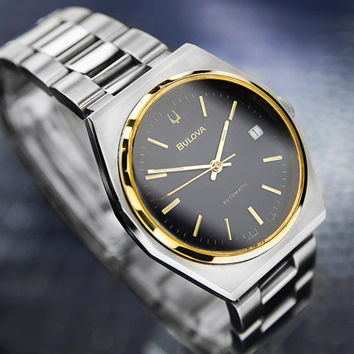 Men's Vintage Bulova Gold Plated & Stainless Steel Automatic Dress Watch with Date, C. 1970's