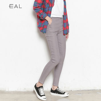 Korean High Waist Slim Pants [6466226884]