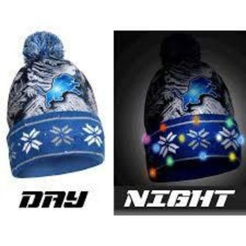 ESBON NFL Detroit Lions Big Logo Light Up Printed Beanie
