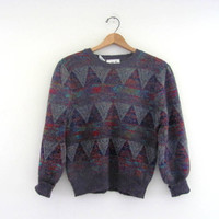 80s sweater. graphic sweater. bill cosby sweater. gray and purple. women's size M