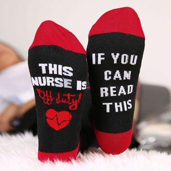 This Nurse Is Off Duty If You Can Read This - Socks Funny Crazy Cool Novelty Cute Fun Funky Colorful