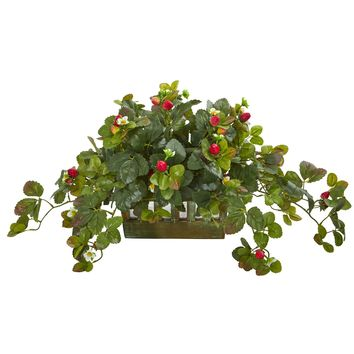 Artificial Plant -16 Inch Strawberry Plant in Decorative Planter