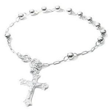 Sterling Silver 5MM Rosary Bracelet, Weight 4.9grams, Length 7 1/2inches, Width 6mm