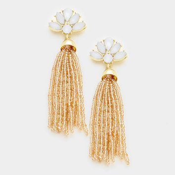 Long Beaded Tassel Earrings Peach, Gold Dangle Statement Earrings, Long Tassel Earrings, Long Dangle Earrings, Gift for Her, Gold Earrings