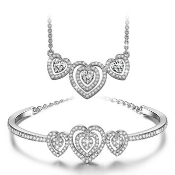 "♥Valentines Day Gifts♥ J.NINA ""Loving Song"" White-Gold Plated Sweet Heart Necklace Bracelet Set made with Swarovski Crystal Jewelry"