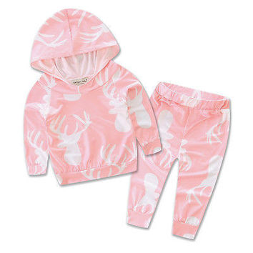 2016 Autumn style infant clothes baby clothing sets 2pcs Newborn  Baby Girls Clothes T-shirt Hoodie+Pants Outfits Set