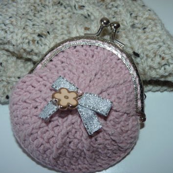 Crochet coin purse  / Pink coin purse  / Flower coin purse / Crochet accessories