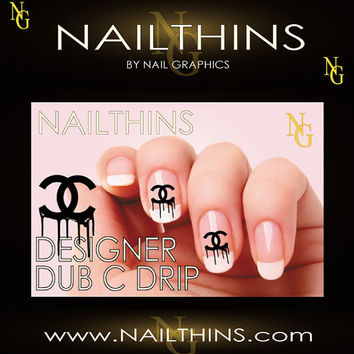DESIGNER Double C Drip Design Nail Art  nail decal by NailGraphics