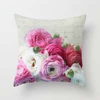 Ranunculus still life Throw Pillow by sylviacookphotography