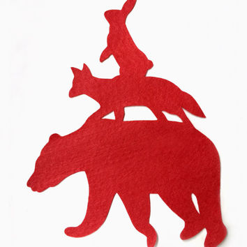 Stacking Animals Red Nursery Art. Hand Cut Woodland Bear Fox Rabbit. Chidlren Room Wall Decor Wall Art