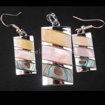 Free shipping  Fashion Jewelry White Mother of pearl Ablone Shell Oblong Art Pendant Earring Set  MC4321