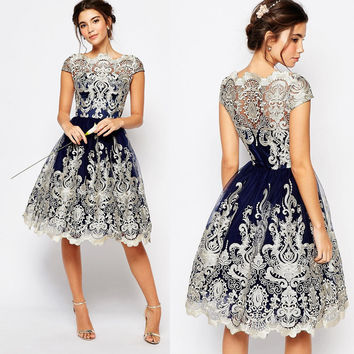 Women's Fashion Lace Vintage Prom Dress One Piece Dress [10681937551]