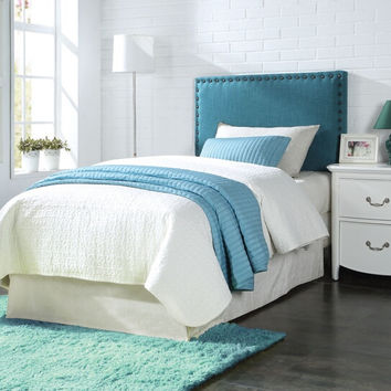 Acme 39115 Sabina blue linen fabric tufted Queen / Full padded headboard with nail head trim