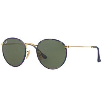 Gotopfashion Ray Ban RB3447JM 172 Round Camouflage Sunglasses Gold Frame Green G-15 Lens 50mm