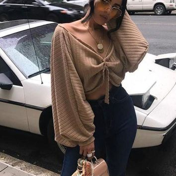 CREYON Khaki Ruffle Open Back Lantern Sleeve Off Shoulder Oversized Pullover Sweater Day First