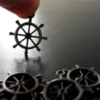 6 Black, 29x25mm, Tibetan-Style Ship Wheel Charms