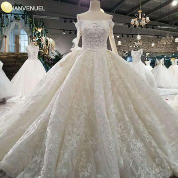 LSS016 luxury elegant crytal wedding dresses off shoulder lace up back flower  plus size wedding dresses with long train 2018