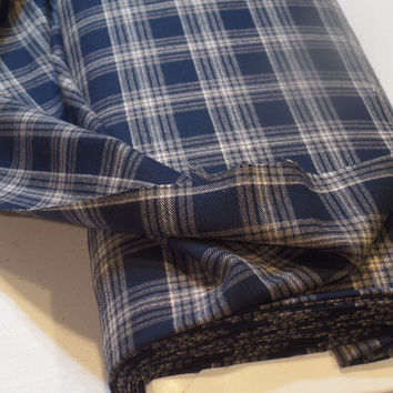 Tartan Plaid Cotton Flannel Fabric Navy/White/Gray 60 Inches Wide Sold by the Half Yard (45 cm)