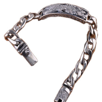 Heavy Sterling Silver Dragon Center Chain Bracelet