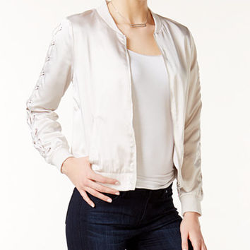 kensie Lace-Up Bomber Jacket - Jackets - Women - Macy's
