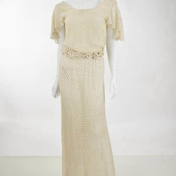 1930s Vintage Cream Crochet Dress