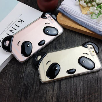 Cute panda mobile phone case for iPhone 7 7 plus iphone 5 5s SE 6 6s 6plus 6s plus + Nice gift box!