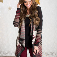 Autumn Beauty Aztec Cardigan Burgundy/Black/Brown