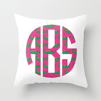 Custom Preppy Pattern Monogram Pillow Cover