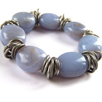 Lace Agate Bracelet, Blue Lace Agate Stones, Chunky, Stretch Bracelet, Antique Silver Rings, Bridesmaid Gift