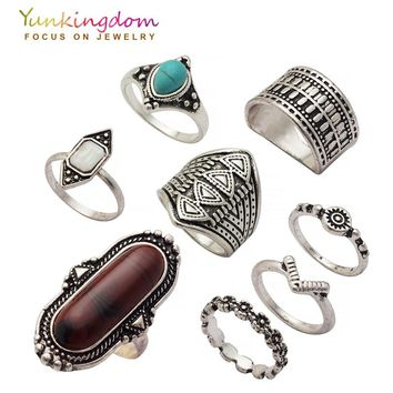 Yunkingdom New Vintage Stones Ring Set Bohemia Ethnic Rings for Women Antique Silver Color jewelry Cheap Wholesale / Retail