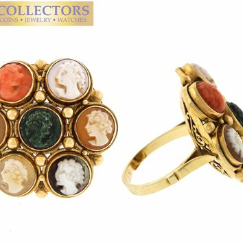 Ladies Vintage Estate 14K Yellow Gold Multi-Stone Carved Cameo Cocktail Ring