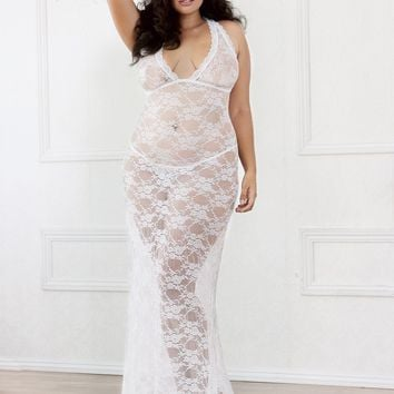 Plus Size Lace Bridal Gown With Train