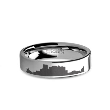 El Paso City Skyline Cityscape Laser Engraved Tungsten Ring