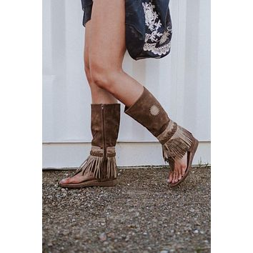 Ibiza Fringed Gladiator Boot Sandals - Taupe