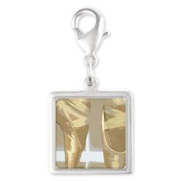 Pointe Shoes Silver Square Charm