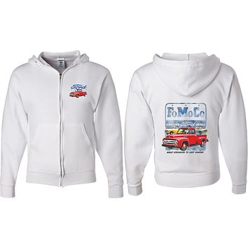 Ford Full Zip Hoodie FoMoCo Parts Front and Back