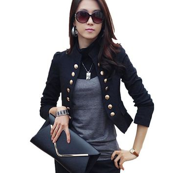 Ladies Blazer Femme Suit Blazer Women Double Breasted Black Autumn Long Sleeve Short Slim Jacket