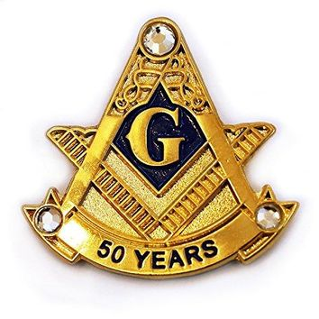 The Masonic Exchange Masonic 50 Years Square amp Compass with Rhinestones Gold Lapel Pin  1quot Tall