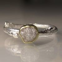 Raw Silvery White Diamond Twig Ring - 18k Gold and Sterling Silver - Engagement Ring