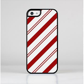 The Red and White Slanted Vector Stripes Skin-Sert Case for the Apple iPhone 5c