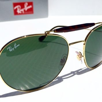 NEW* Ray Ban Round AVIATOR Classic TORTOISE w GREEN Sunglass rb 3540