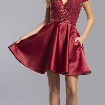 Off-the-Shoulder Homecoming Short Dress with Pockets Burgundy