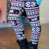 Deer Tribal Fleece Leggings {Black Multi}